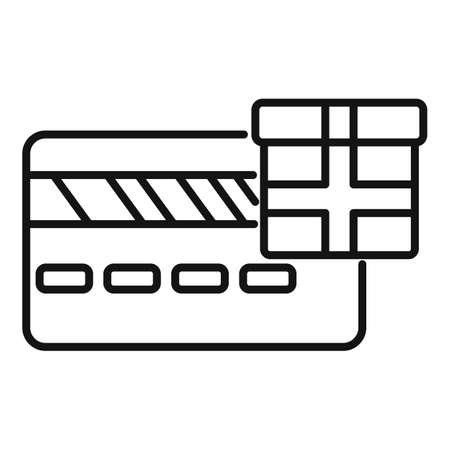 Bonus credit card icon, outline style