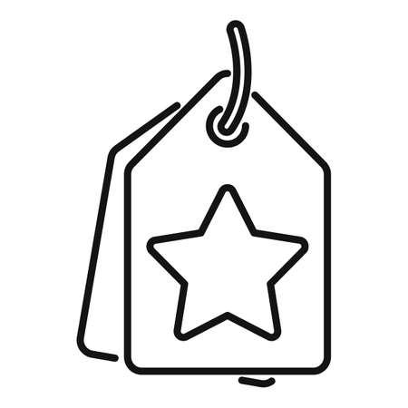 Sale bonus tag icon, outline style Иллюстрация
