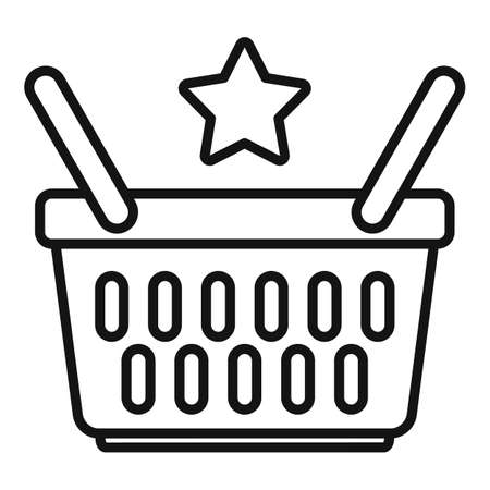 Sale bonus basket icon, outline style Иллюстрация