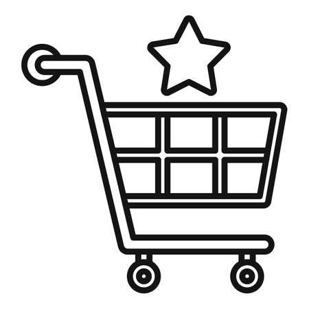 Sale bonus shop cart icon, outline style