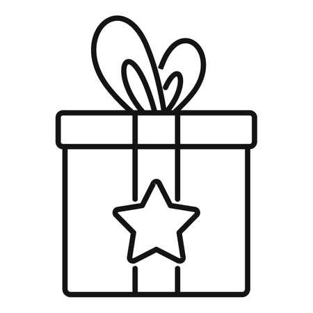 Sale bonus gift box icon, outline style