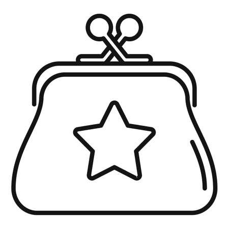 Sale bonus wallet icon, outline style Иллюстрация