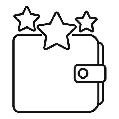 Sale bonus star wallet icon, outline style