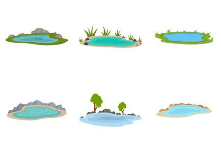 Lake icons set flat vector isolated