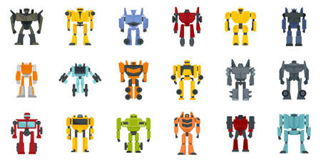 Robot-transformer icons set flat vector isolated Vecteurs