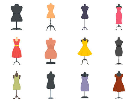 Mannequin icons set flat vector isolated