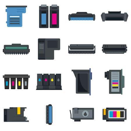 Cartridge icons set flat vector isolated Vektoros illusztráció