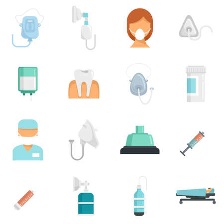 Anesthesia icons set flat vector isolated