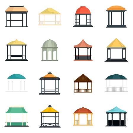Gazebo icons set flat vector isolated