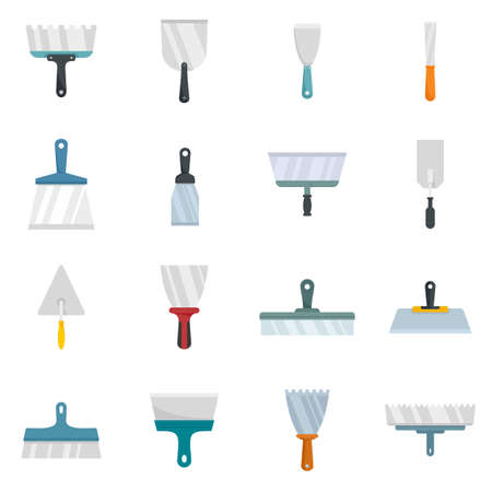 Putty knife icons set flat vector isolated Vetores