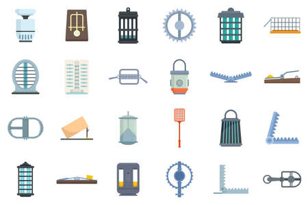 Animal trap icons set flat vector isolated