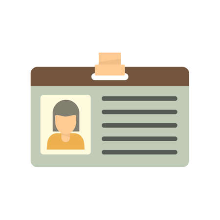 Office id card icon flat isolated vector Ilustração