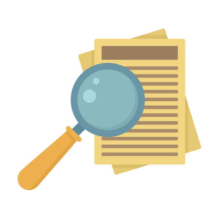 Paper under magnifier icon flat isolated vector