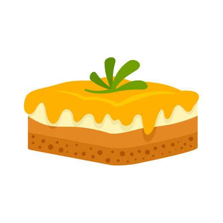 Greek cheesecake icon flat isolated vector Vetores