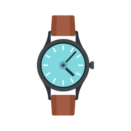 Swiss hand watch icon flat isolated vector