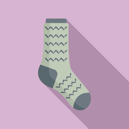 Laundry sock icon flat vector. Winter sock