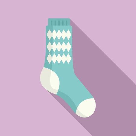Design sock icon flat vector. Cute cotton item