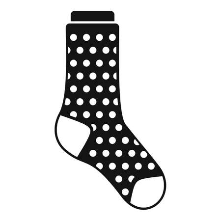 Dotted sock icon simple vector. Winter sport sock