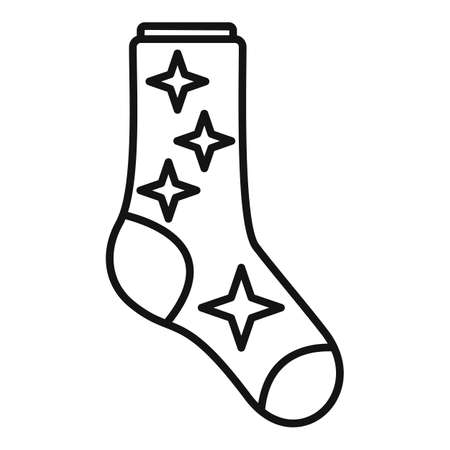 Sock stars icon outline vector. Winter collection