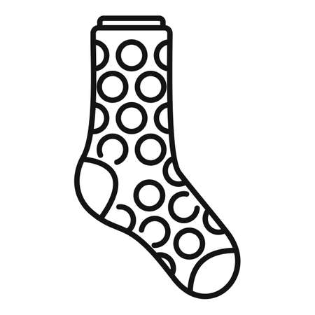 Sock circle icon outline vector. Sport wool sock