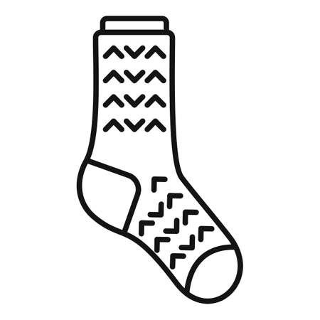 Laundry sock icon outline vector. Winter sock