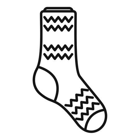 Girl sock icon outline vector. Cute pair line
