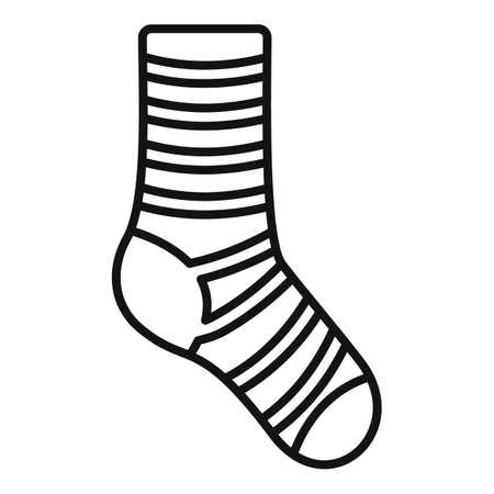 Cotton sock icon outline vector. Winter sock