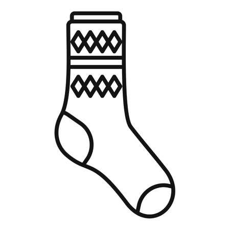 Design sock icon outline vector. Cute cotton item Vektorové ilustrace
