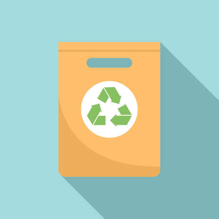 Paper recycle bag icon flat vector. Eco fabric