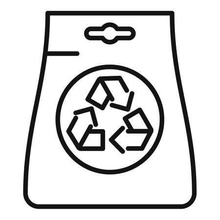 Eco bag icon outline vector. Handle bag