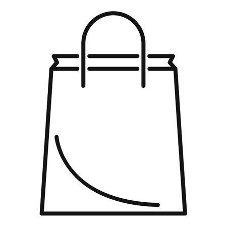 Paper bag icon outline vector. Eco handle bag Ilustração