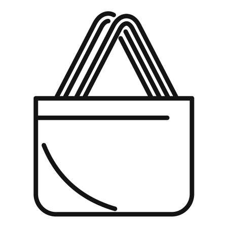 Market eco bag icon outline vector. Fabric reusable