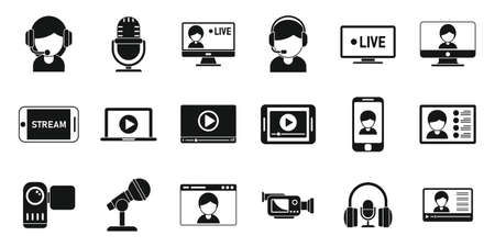 Live stream icons set simple vector. Video streaming