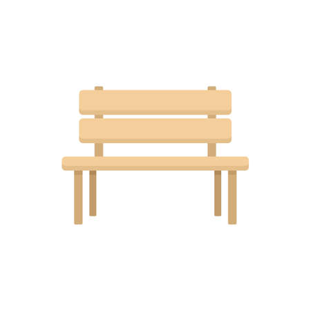 Wood garden bench icon flat isolated vector Иллюстрация