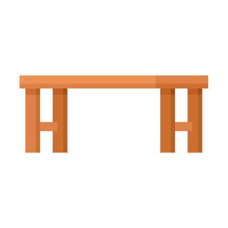 Long wood bench icon flat isolated vector