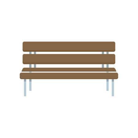 Park bench icon flat isolated vector