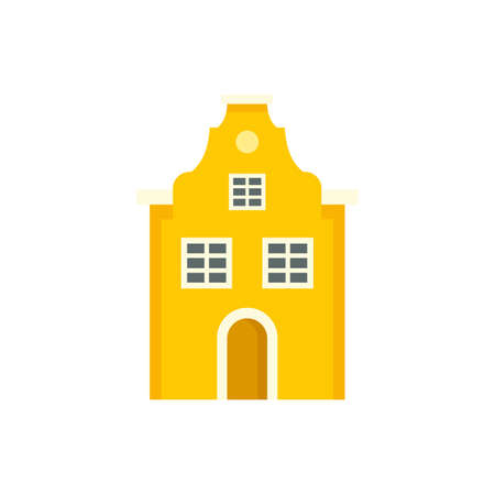 Cute Riga house icon. Flat illustration of cute Riga house vector icon isolated on white background