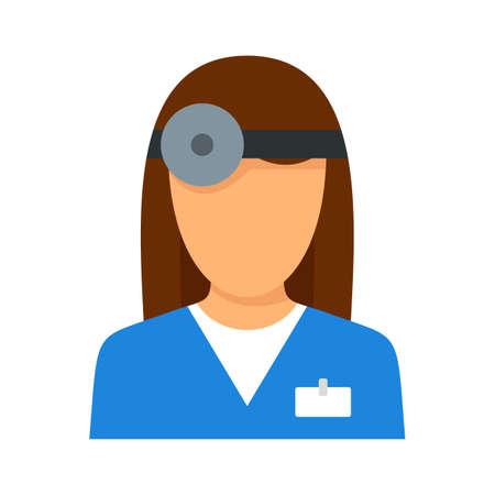 Eye examination doctor icon flat isolated vector Иллюстрация