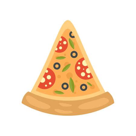 Pepperoni pizza slice icon. Flat illustration of pepperoni pizza slice vector icon isolated on white background