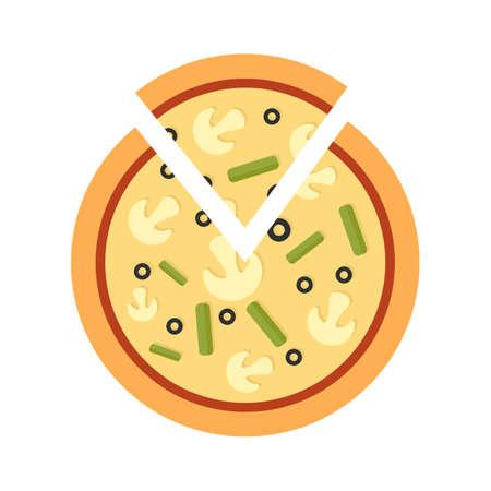 Mushroom pizza icon flat isolated vector