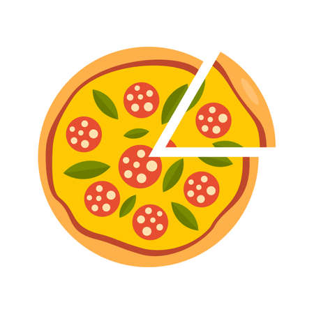 Slice sausage pizza icon. Flat illustration of slice sausage pizza vector icon isolated on white background Иллюстрация