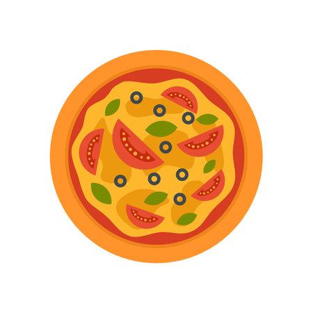 Fresh tomato pizza icon flat isolated vector