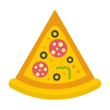 Delivery pizza slice icon flat isolated vector
