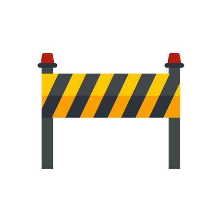 Road construction barrier icon flat isolated vector