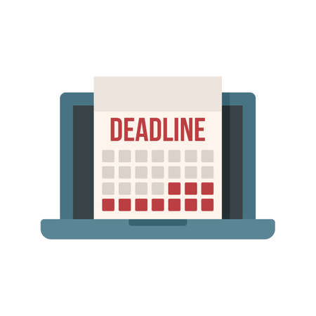 Deadline laptop calendar icon flat isolated vector
