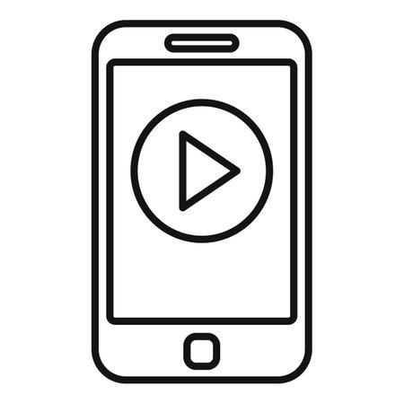 Phone video edit icon outline vector. Mobile smartphone Vetores