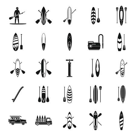 Sup surfing icons set simple vector. Surf board