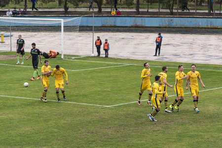 soccer 2nd League Ukraine Energy -Metalist 05 Nov, 2017 , players in European football in the game,Ukraine, Kherson region , New Kakhovka ,the stadium Energy