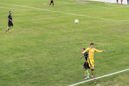 soccer 2nd League Ukraine Energy -Metalist 05 Nov, 2017 , players in European football in the game,Ukraine, Kherson region , New Kakhovka ,the stadium Energy