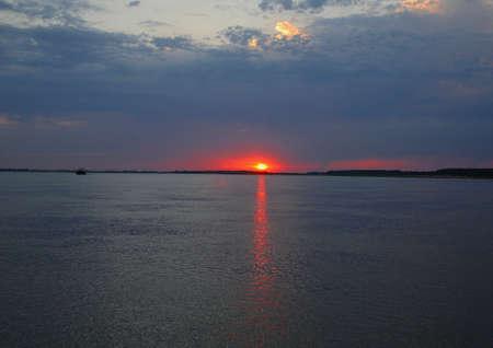 volga: Sundown on river Volga